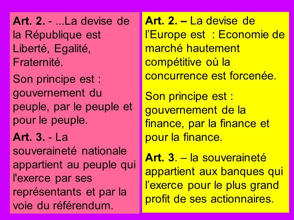 Art. 2. -...La devise de la République est Liberté, Egalité, Fraternité. Son principe est : gouvernement du peuple, par le peuple et pour le peuple. A