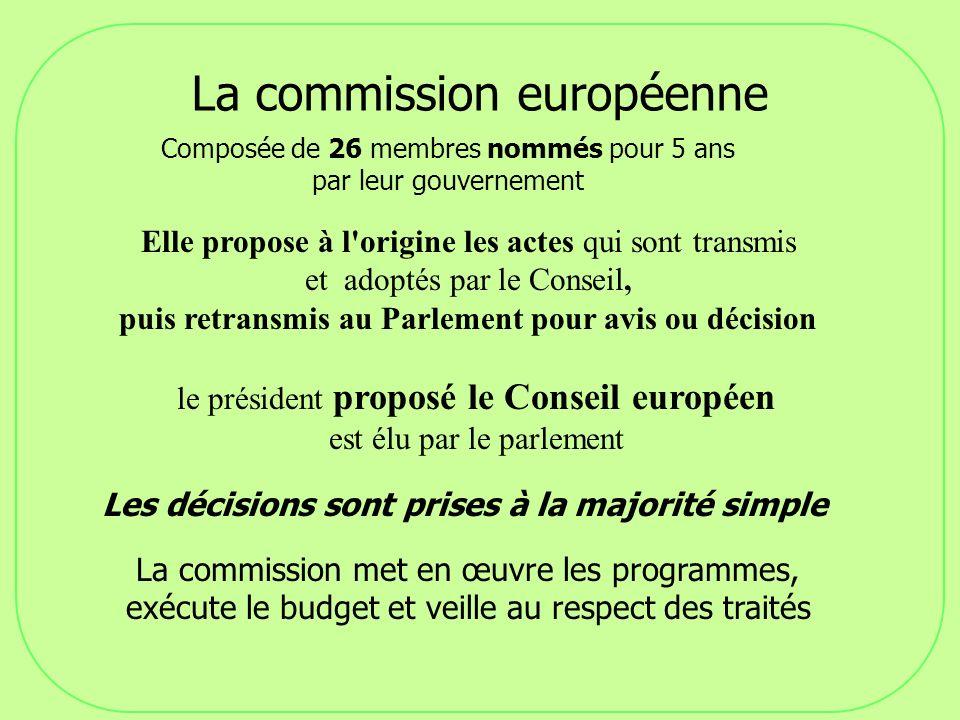 La commission européenne Composée de 26 membres nommés pour 5 ans par leur gouvernement Elle propose à l'origine les actes qui sont transmis et adopté