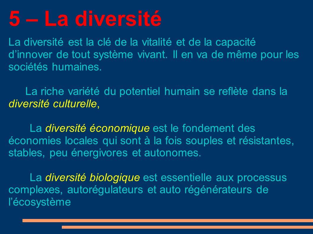 5 – La diversité La diversité est la clé de la vitalité et de la capacité dinnover de tout système vivant.