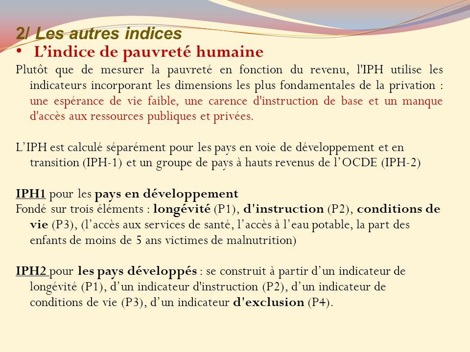 2/ Les autres indices Lindice de pauvreté humaine Plutôt que de mesurer la pauvreté en fonction du revenu, l'IPH utilise les indicateurs incorporant l