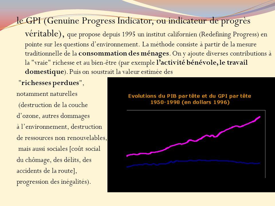 le GPI (Genuine Progress Indicator, ou indicateur de progrès véritable), que propose depuis 1995 un institut californien (Redefining Progress) en pointe sur les questions denvironnement.