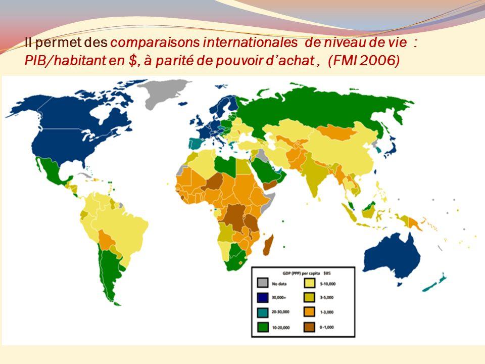 Il permet des comparaisons internationales de niveau de vie : PIB/habitant en $, à parité de pouvoir dachat, (FMI 2006)