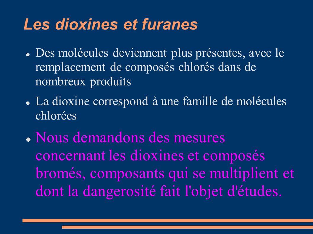 Les dioxines et furanes Des molécules deviennent plus présentes, avec le remplacement de composés chlorés dans de nombreux produits La dioxine correspond à une famille de molécules chlorées Nous demandons des mesures concernant les dioxines et composés bromés, composants qui se multiplient et dont la dangerosité fait l objet d études.