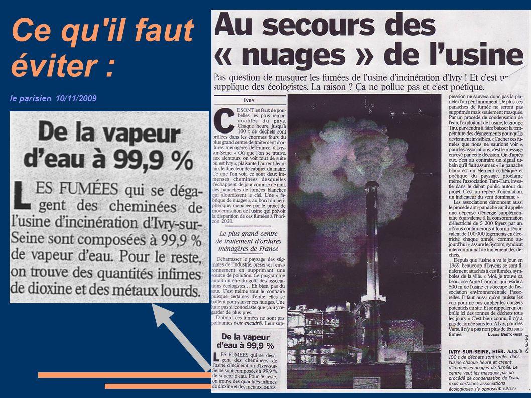 Ce qu il faut éviter : le parisien 10/11/2009