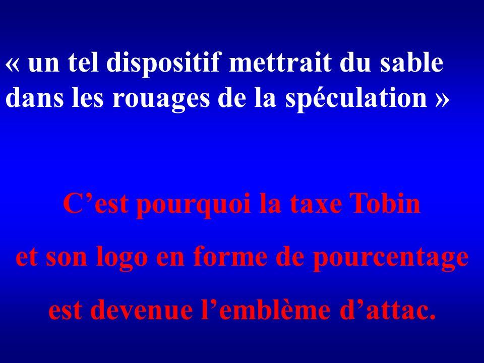 « un tel dispositif mettrait du sable dans les rouages de la spéculation » Cest pourquoi la taxe Tobin et son logo en forme de pourcentage est devenue lemblème dattac.