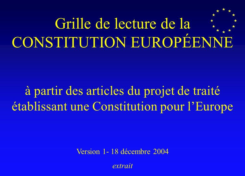 Grille de lecture de la CONSTITUTION EUROPÉENNE à partir des articles du projet de traité établissant une Constitution pour lEurope Version 1- 18 déce
