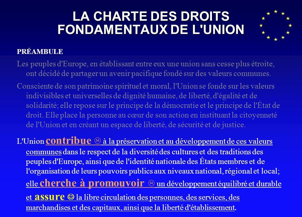 LA CHARTE DES DROITS FONDAMENTAUX DE L'UNION PRÉAMBULE Les peuples d'Europe, en établissant entre eux une union sans cesse plus étroite, ont décidé de