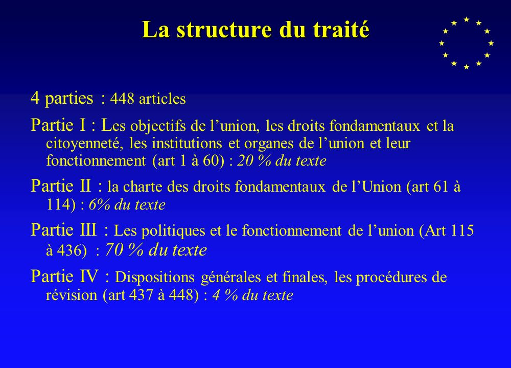 La structure du traité 4 parties : 448 articles Partie I : L es objectifs de lunion, les droits fondamentaux et la citoyenneté, les institutions et or