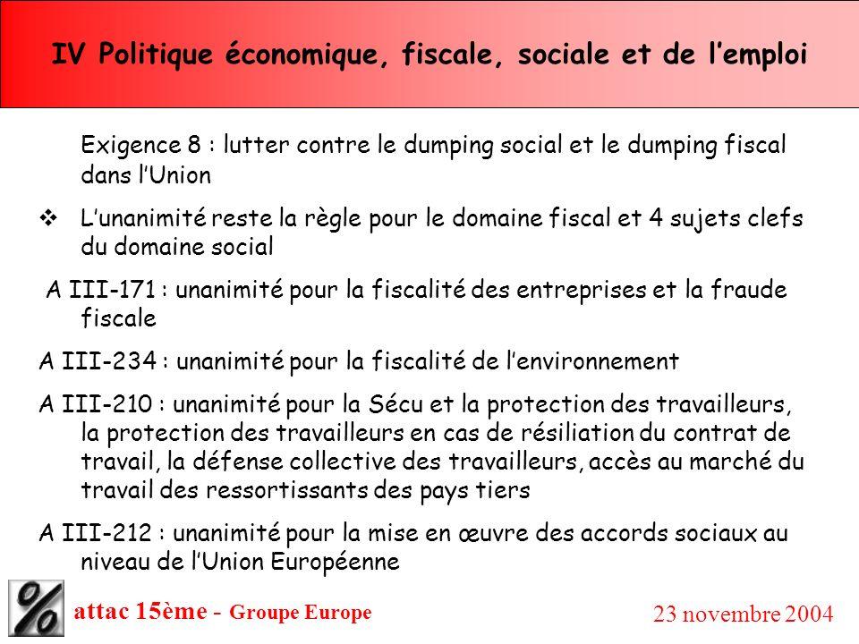 attac 15ème - Groupe Europe 23 novembre 2004 IV Politique économique, fiscale, sociale et de lemploi Exigence 8 : lutter contre le dumping social et l