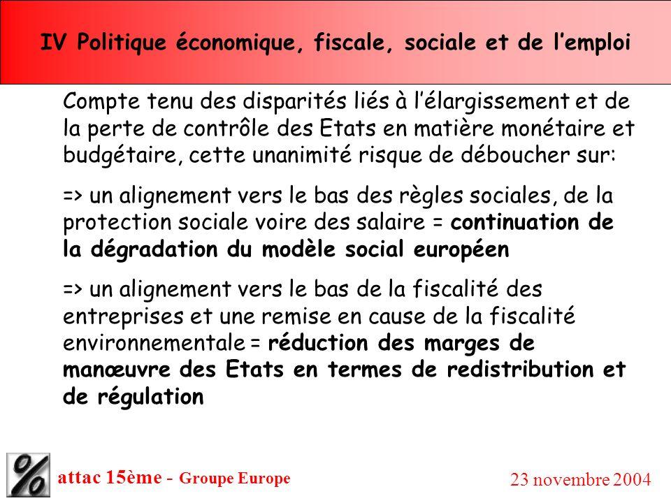 attac 15ème - Groupe Europe 23 novembre 2004 IV Politique économique, fiscale, sociale et de lemploi Compte tenu des disparités liés à lélargissement
