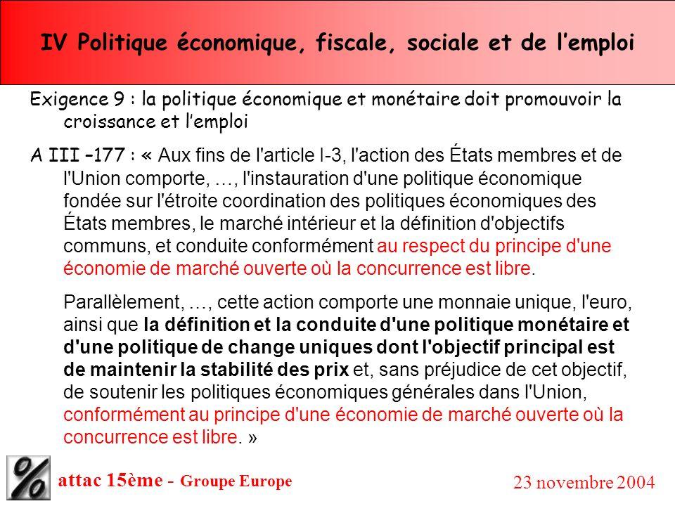 attac 15ème - Groupe Europe 23 novembre 2004 IV Politique économique, fiscale, sociale et de lemploi Exigence 9 : la politique économique et monétaire