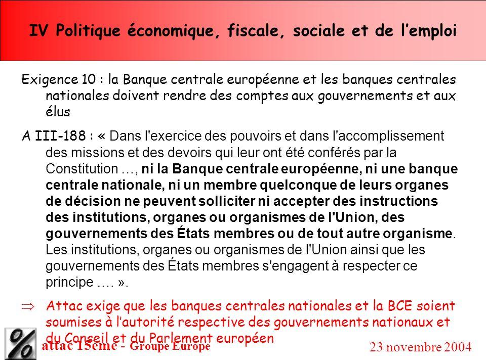 attac 15ème - Groupe Europe 23 novembre 2004 IV Politique économique, fiscale, sociale et de lemploi Exigence 10 : la Banque centrale européenne et le