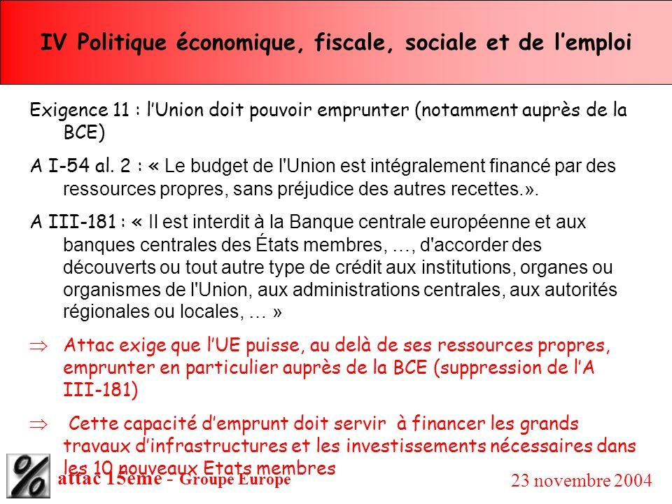 attac 15ème - Groupe Europe 23 novembre 2004 IV Politique économique, fiscale, sociale et de lemploi Exigence 11 : lUnion doit pouvoir emprunter (nota