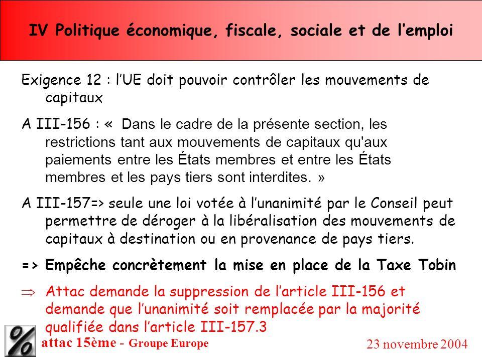 attac 15ème - Groupe Europe 23 novembre 2004 IV Politique économique, fiscale, sociale et de lemploi Exigence 12 : lUE doit pouvoir contrôler les mouv
