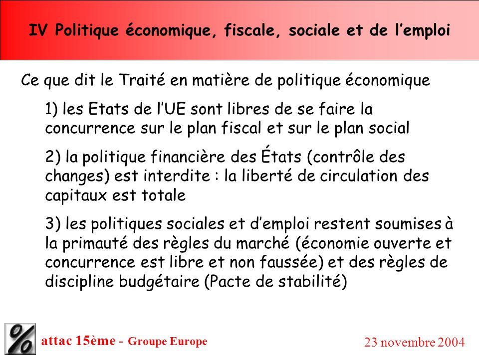 attac 15ème - Groupe Europe 23 novembre 2004 IV Politique économique, fiscale, sociale et de lemploi Ce que dit le Traité en matière de politique écon