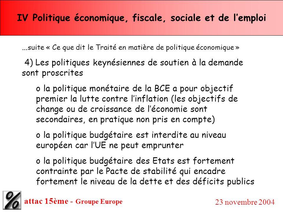 attac 15ème - Groupe Europe 23 novembre 2004 IV Politique économique, fiscale, sociale et de lemploi … suite « Ce que dit le Traité en matière de poli