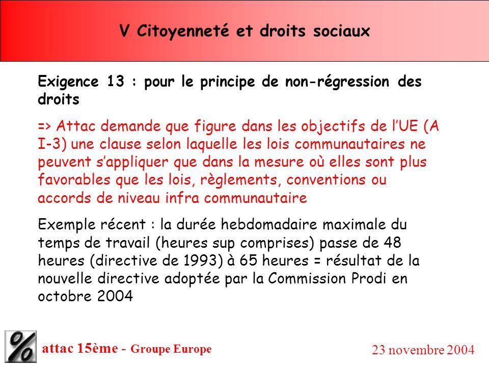 attac 15ème - Groupe Europe 23 novembre 2004 V Citoyenneté et droits sociaux Exigence 13 : pour le principe de non-régression des droits => Attac dema
