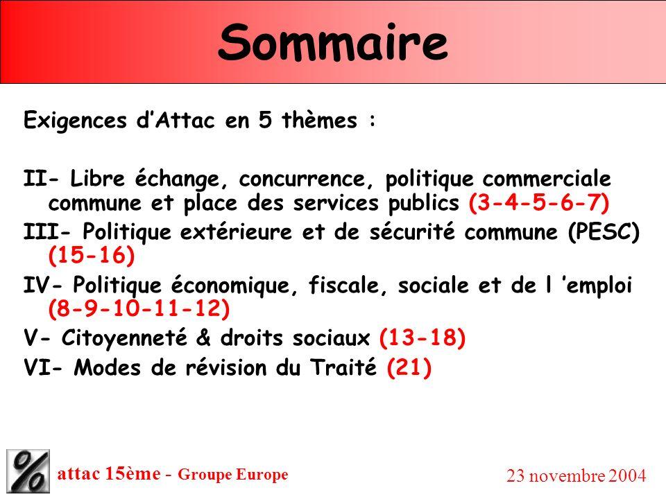 attac 15ème - Groupe Europe 23 novembre 2004 Sommaire Exigences dAttac en 5 thèmes : II- Libre échange, concurrence, politique commerciale commune et