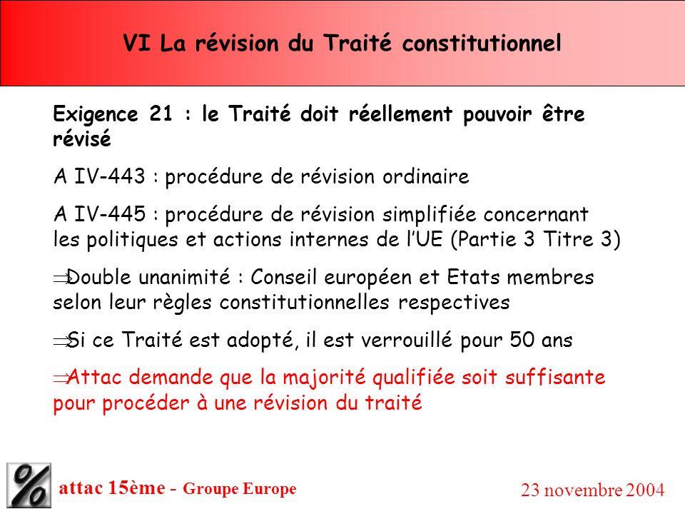attac 15ème - Groupe Europe 23 novembre 2004 VI La révision du Traité constitutionnel Exigence 21 : le Traité doit réellement pouvoir être révisé A IV