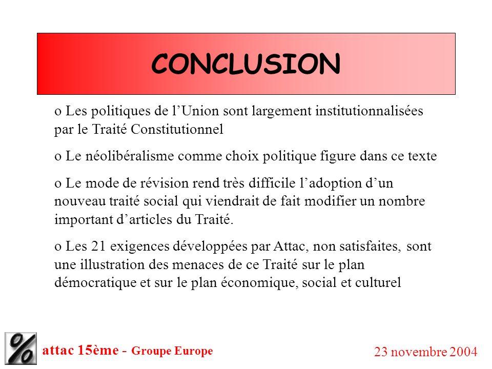 attac 15ème - Groupe Europe 23 novembre 2004 CONCLUSION o Les politiques de lUnion sont largement institutionnalisées par le Traité Constitutionnel o