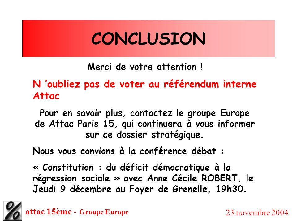 attac 15ème - Groupe Europe 23 novembre 2004 CONCLUSION Merci de votre attention ! N oubliez pas de voter au référendum interne Attac Pour en savoir p