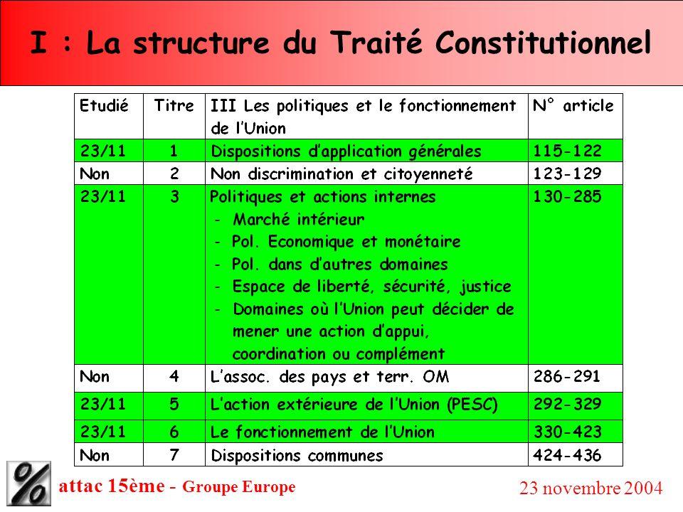 attac 15ème - Groupe Europe 23 novembre 2004 I : La structure du Traité Constitutionnel Considérations générales : Les politiques de l Union qui apparaissent dans le Traité Constitutionnel ne devraient pas y figurer, pour l essentiel, car, dans les constitutions en vigueur dans la plupart des pays, elles relèvent du choix de l exécutif en reflétant celui des électeurs.