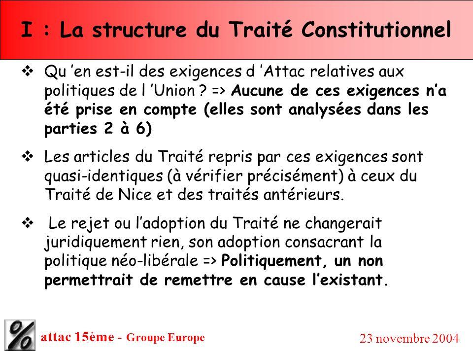 attac 15ème - Groupe Europe 23 novembre 2004 I : La structure du Traité Constitutionnel Qu en est-il des exigences d Attac relatives aux politiques de