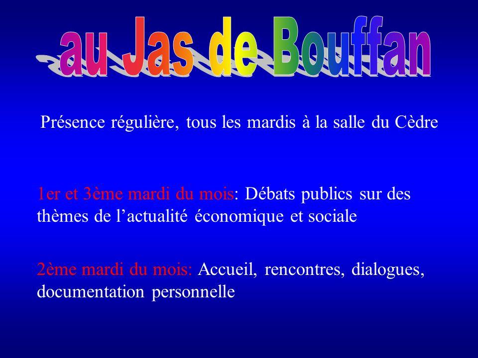 1er et 3ème mardi du mois: Débats publics sur des thèmes de lactualité économique et sociale 2ème mardi du mois: Accueil, rencontres, dialogues, docum