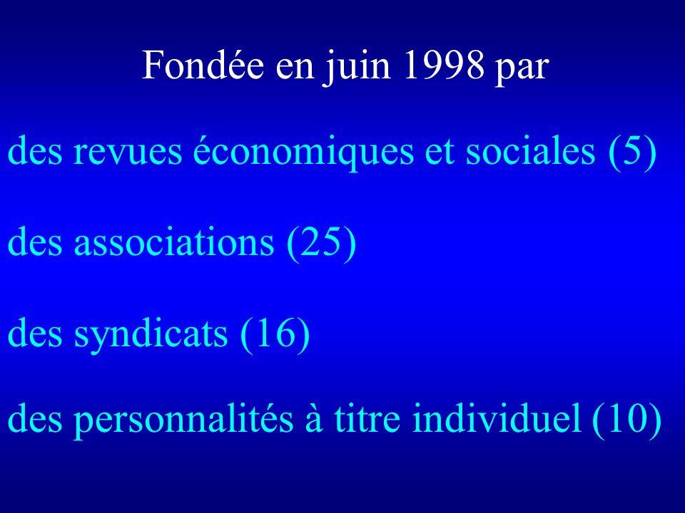 Fondée en juin 1998 par des revues économiques et sociales (5) des associations (25) des syndicats (16) des personnalités à titre individuel (10)