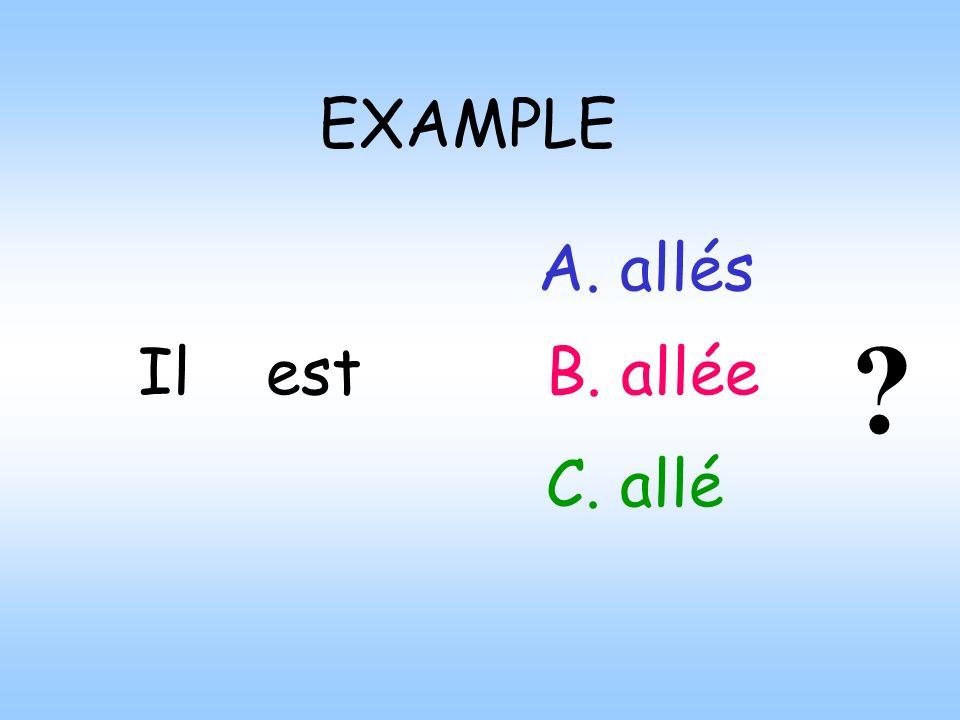 EXAMPLE Ilest A. allés B. allée C. allé ?