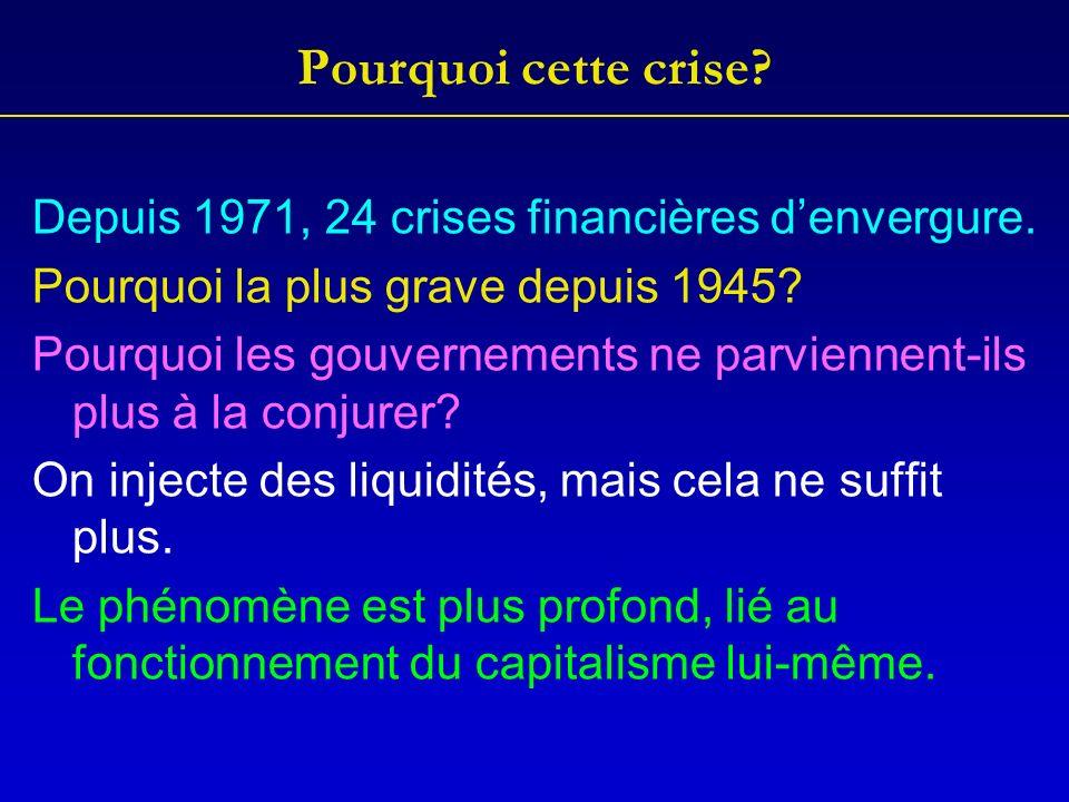 Pourquoi cette crise. Depuis 1971, 24 crises financières denvergure.