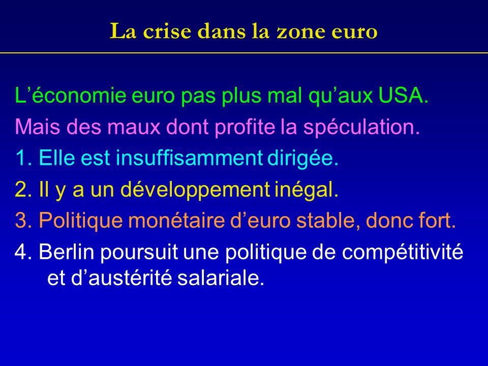 La crise dans la zone euro Léconomie euro pas plus mal quaux USA.