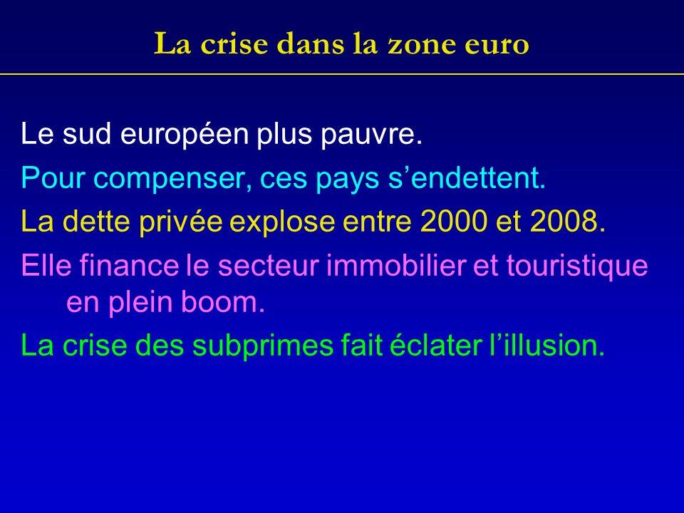 La crise dans la zone euro Le sud européen plus pauvre.