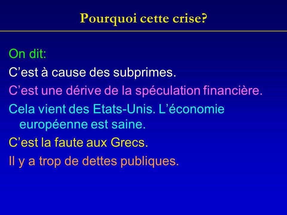 Pourquoi cette crise. On dit: Cest à cause des subprimes.