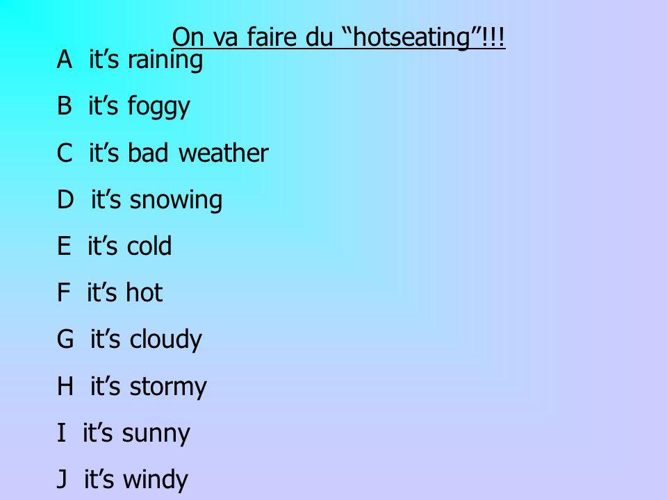 On va faire du hotseating!!! A its raining B its foggy C its bad weather D its snowing E its cold F its hot G its cloudy H its stormy I its sunny J it