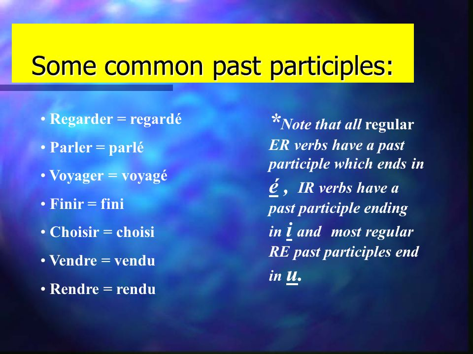 How do I conjugate the passé composé? n The following equation may be used to help remember the order: subject + conjugation of + past avoir * partici
