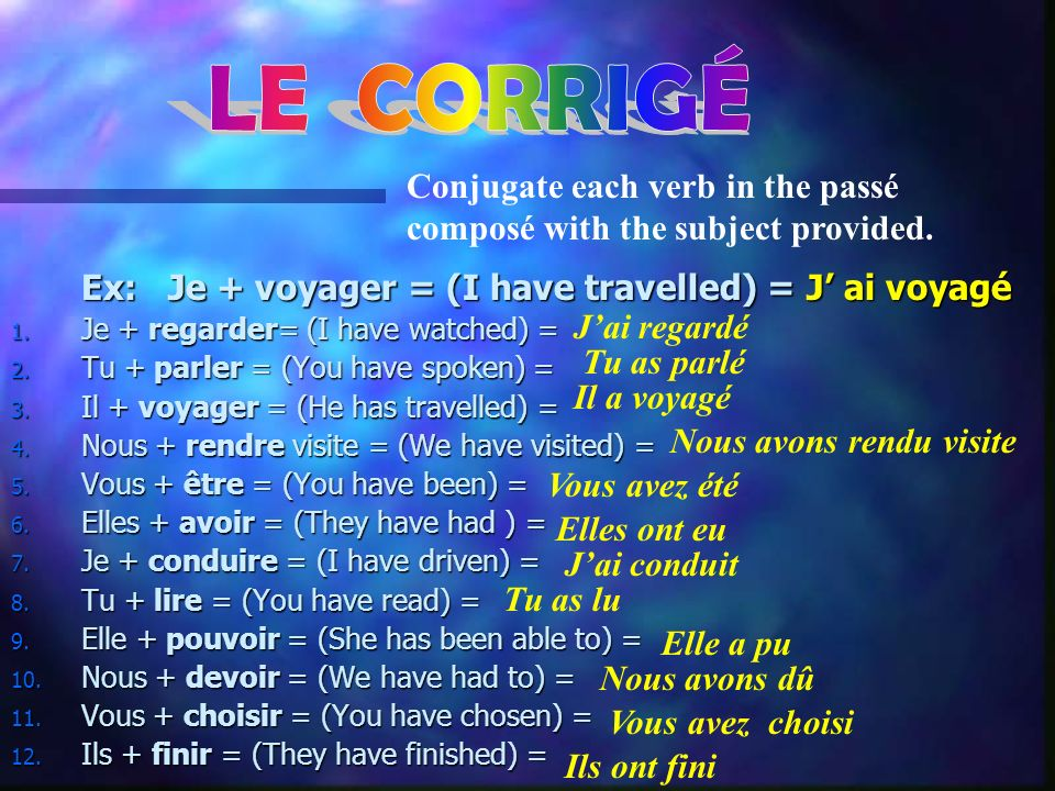 Ex: Je + voyager = (I have travelled) = J ai voyagé 1. Je + regarder= (I have watched) = ________ ________ ___________ 2. Tu + parler = (You have spok