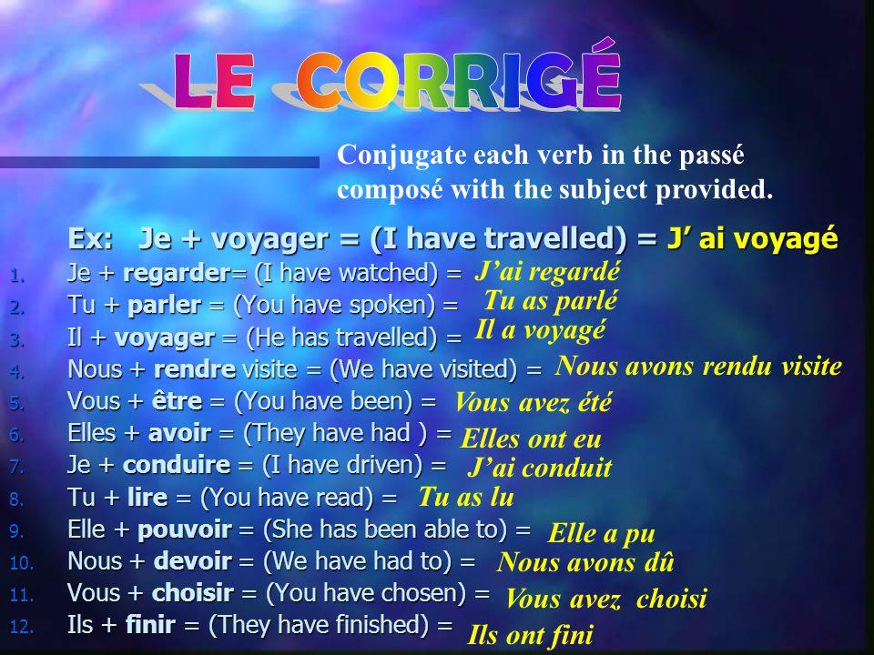 Ex: Je + voyager = (I have travelled) = J ai voyagé 1.