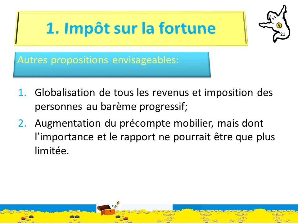 21 1.Globalisation de tous les revenus et imposition des personnes au barème progressif; 2.Augmentation du précompte mobilier, mais dont limportance et le rapport ne pourrait être que plus limitée.