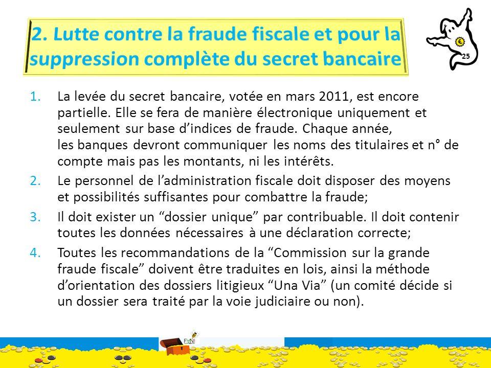 25 1.La levée du secret bancaire, votée en mars 2011, est encore partielle.