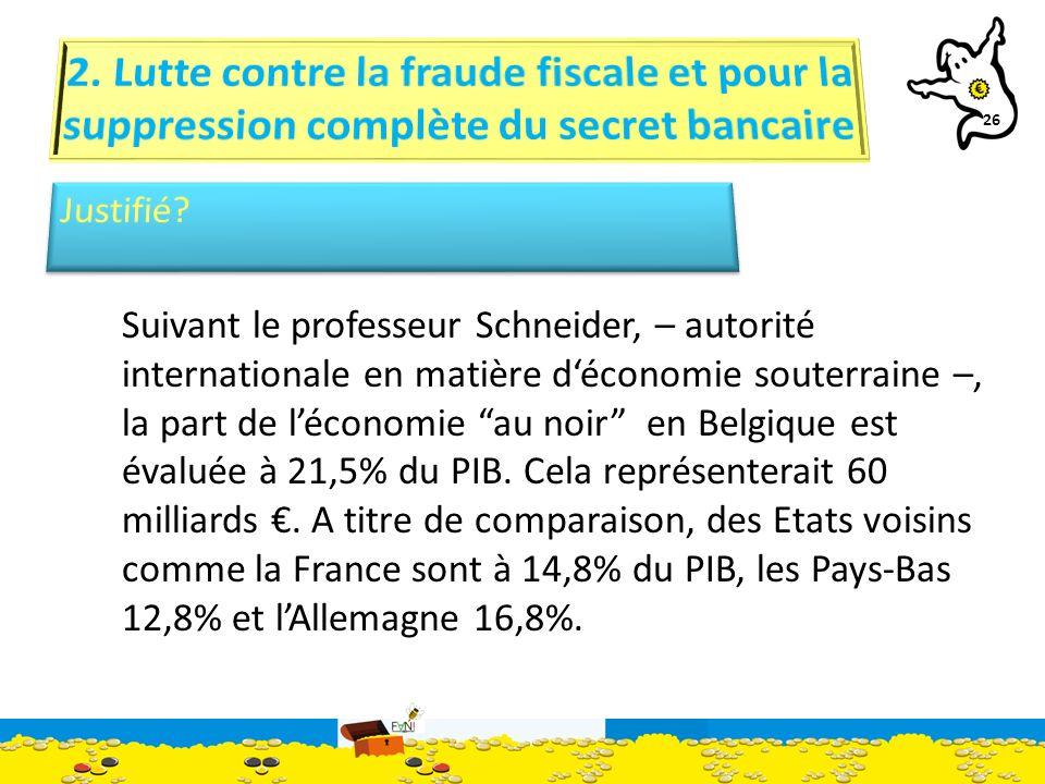 26 Suivant le professeur Schneider, – autorité internationale en matière déconomie souterraine –, la part de léconomie au noir en Belgique est évaluée à 21,5% du PIB.