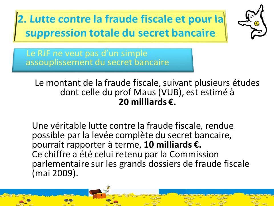 27 Le montant de la fraude fiscale, suivant plusieurs études dont celle du prof Maus (VUB), est estimé à 20 milliards.