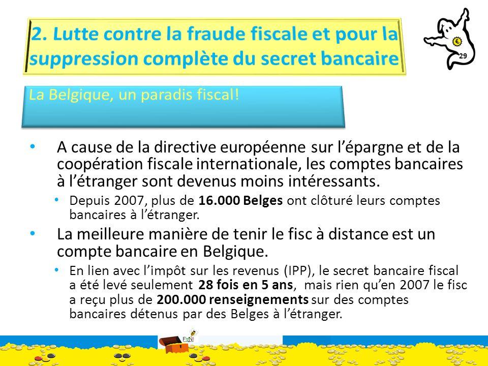 29 A cause de la directive européenne sur lépargne et de la coopération fiscale internationale, les comptes bancaires à létranger sont devenus moins intéressants.