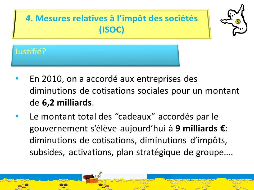 37 En 2010, on a accordé aux entreprises des diminutions de cotisations sociales pour un montant de 6,2 milliards.