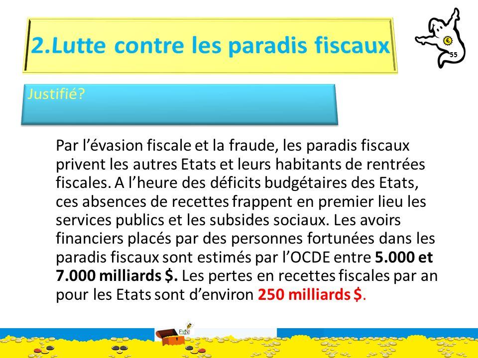 55 Par lévasion fiscale et la fraude, les paradis fiscaux privent les autres Etats et leurs habitants de rentrées fiscales.