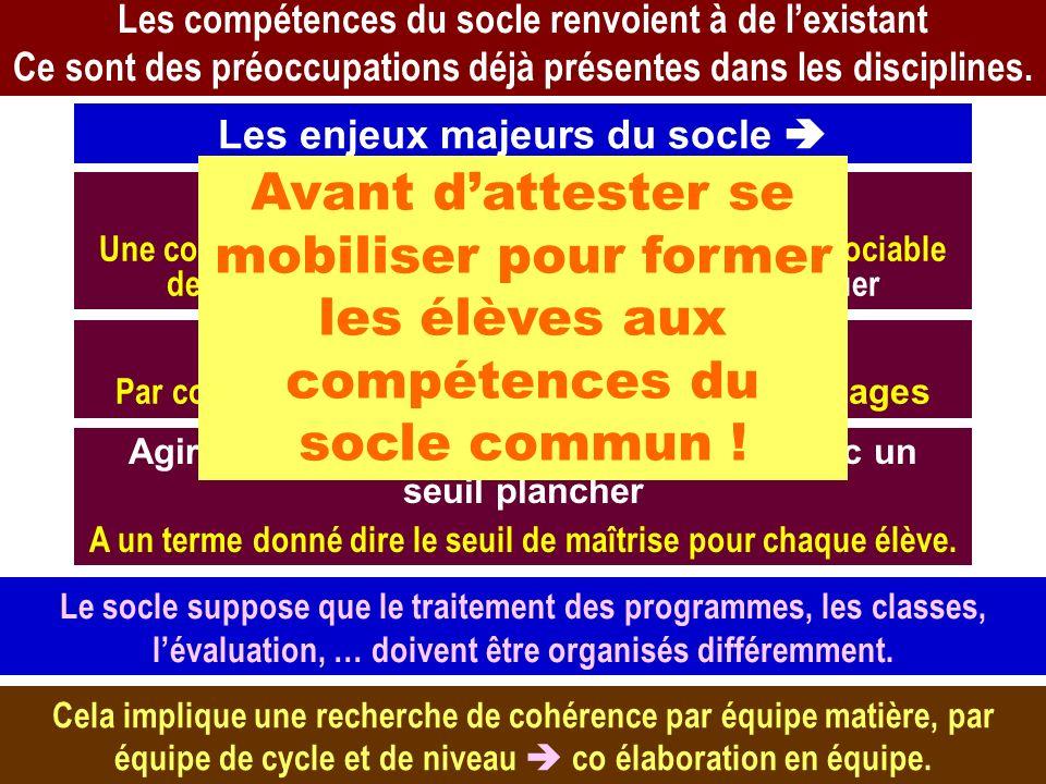 AB – CEPEC – mars 2011 10 Les compétences du socle renvoient à de lexistant Ce sont des préoccupations déjà présentes dans les disciplines. Les enjeux