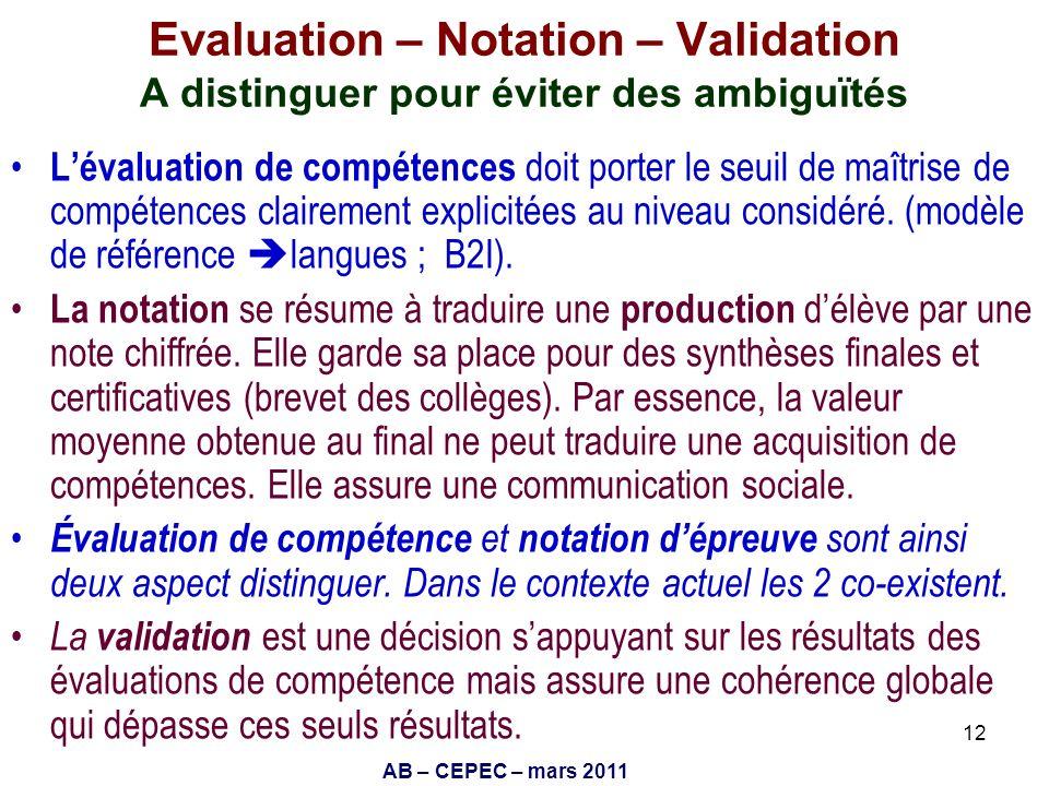 AB – CEPEC – mars 2011 12 Evaluation – Notation – Validation A distinguer pour éviter des ambiguïtés Lévaluation de compétences doit porter le seuil d