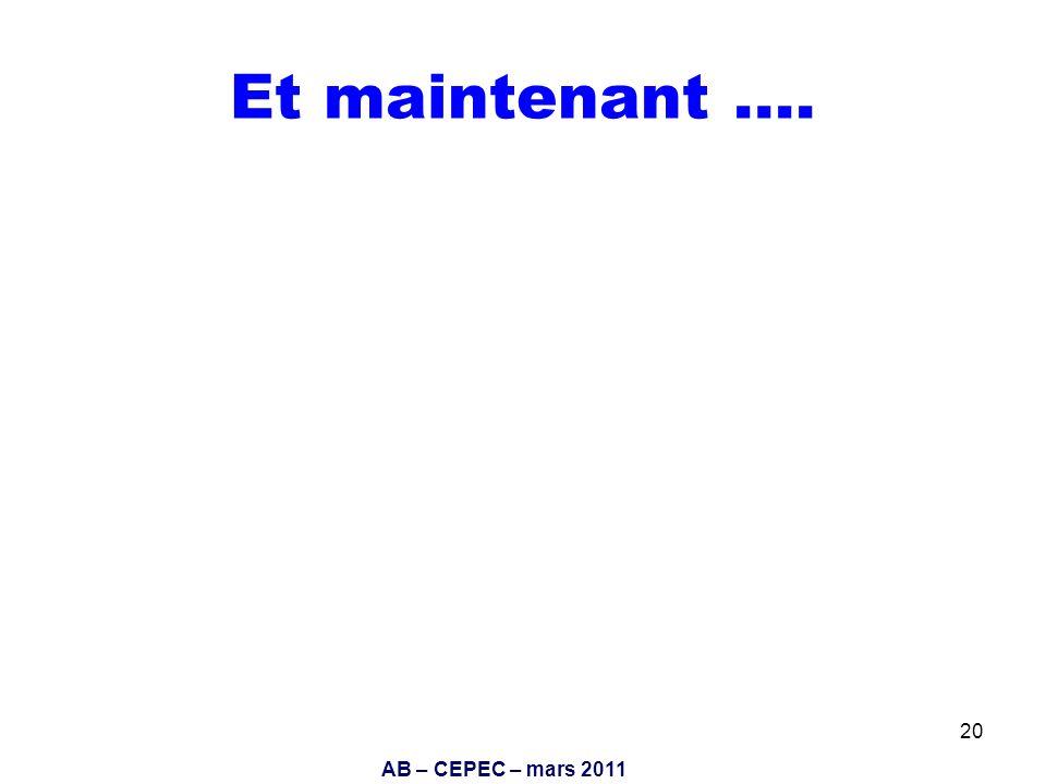 AB – CEPEC – mars 2011 20 Et maintenant ….