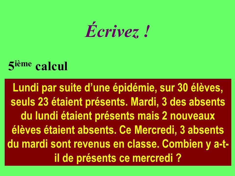 Réfléchissez! 5 ième calcul Lundi par suite dune épidémie, sur 30 élèves, seuls 23 étaient présents. Mardi, 3 des absents du lundi étaient présents ma