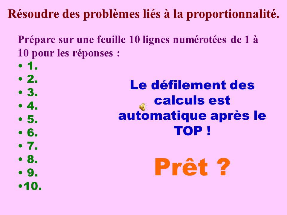 Calcul pensé Résoudre des problèmes liés à la proportionnalité.